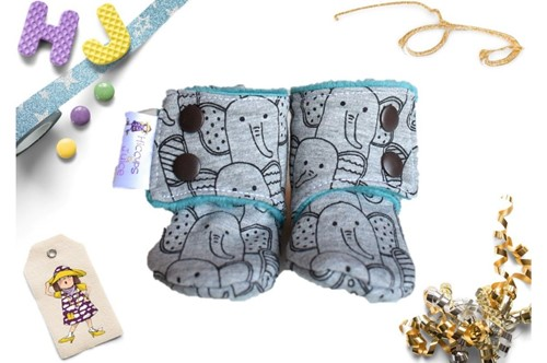 Click to order 0-3m Fleece Stay on Booties Elephants (French Terry) now